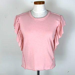 Splendid Pink Short Sleeves Ruffled Tee Size XS